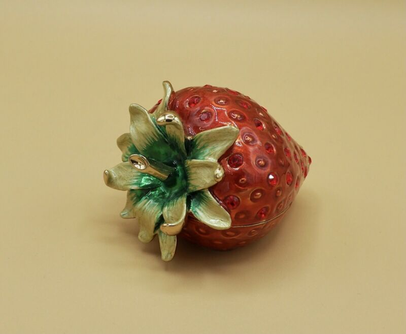 Strawberry Trinket Box Hinged Red and Green Enameled Jeweled Magnetic Closure