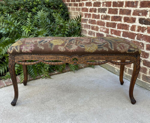 Antique French Country Bench Stool Needlepoint Floral Upholstered WIDE Oak