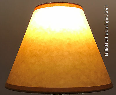 """Rustic Cottage Table Light LAMP SHADE Oil Kraft Clip-On Bulb Style 9"""" inch Cone"""