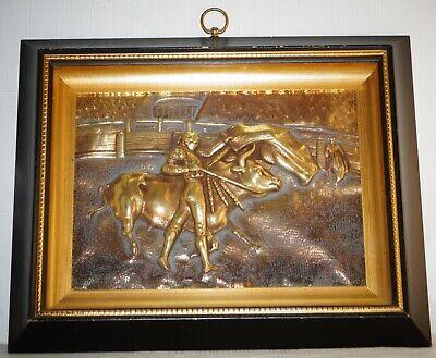 Vintage Black Gold Framed Embossed Brass Bullfighters Relief Wall Plaque Art