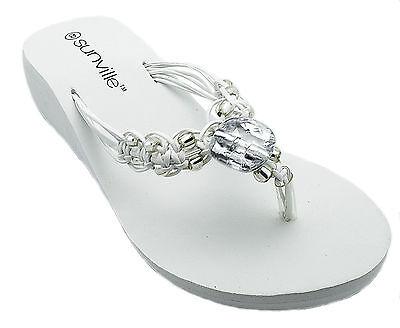Womens White Wedge Thongs Flip Flops Sandals Beaded Macrame Strap Strap Wedge Flip Flops