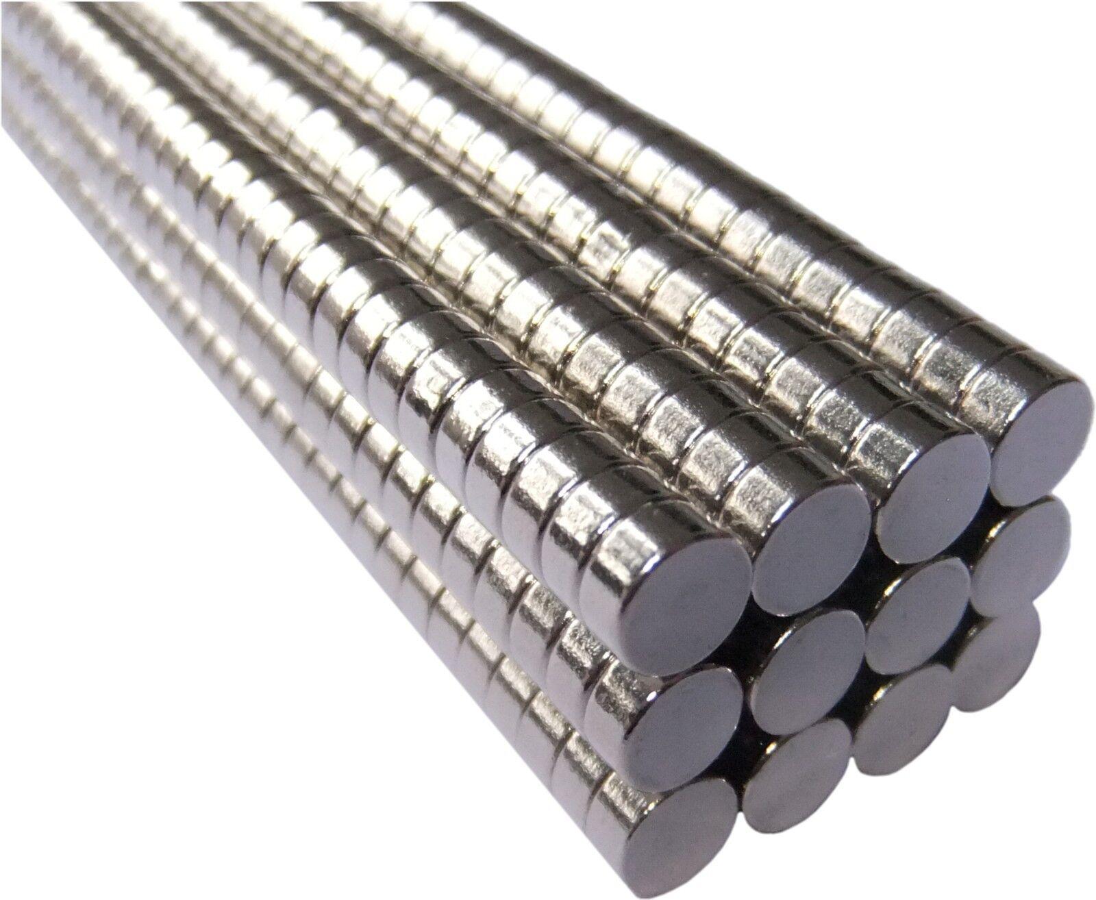 Neodym Magnete super stark Scheiben Würfel N35 N45 N50 doppelt vernickelt Scheibe - Ø 4 X 2mm