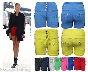 Ladies-Womens-High-Waisted-Denim-Stretch-Shorts-Hot-Pants-Jegging-Sexy-8-14