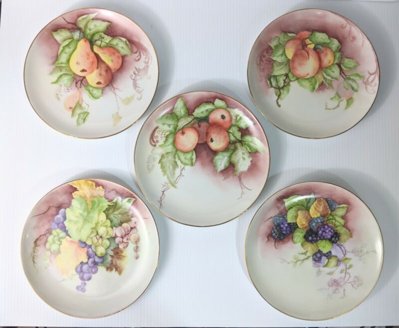 Hand Painted Fruit, Artist Signed Porcelain Wall Hanging Plates With Gilt Edge