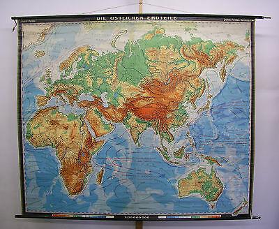 Schulwandkarte Asian Africa Europa Old World Eastern Hemiphere 223x188c 1961 Map