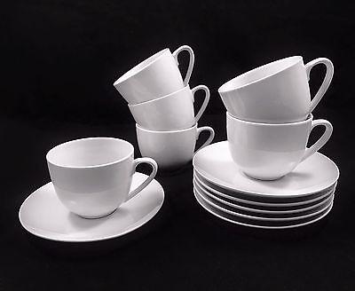 6er-Set Kaffeetassen mit Untertasse Tassenset Porzellan Weiß Kaffee Tassen