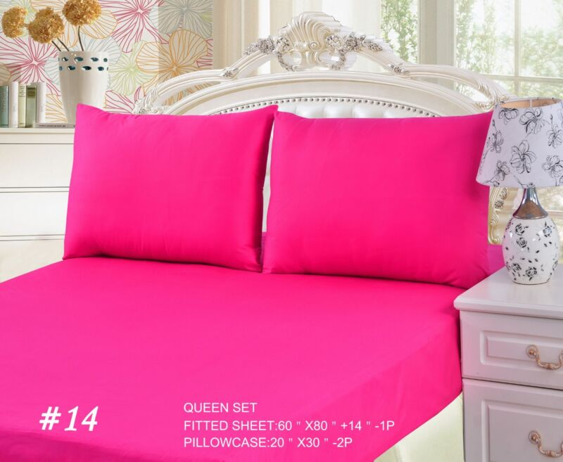 Tache Cotton Solid Hot Pink Fitted Deep Pocket Bed Sheet Set Cal King Queen Twin