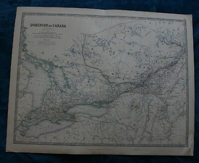 Large antique map of Dominion of Canada (Ontario) published 1861