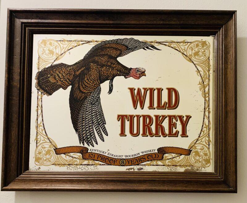 Vintage Wild Turkey Bourbon Whiskey Advertising Sign Mirror Bar 29x23 Wood Frame