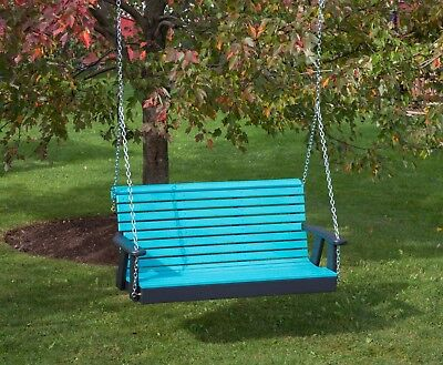 4 Ft-Poly Lumber Amish Crafted Rollback Porch Swing Heavy Duty outdoor furniture ()