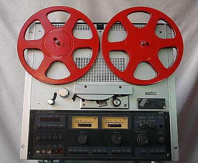 Stylische rote 26,5 cm Tonbandspulen Bandspulen für Revox Akai Teac etc.