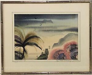 1962 DALE NICHOLS American Artist ORIGINAL WATERCOLOR PAINTING Lago Atitlan
