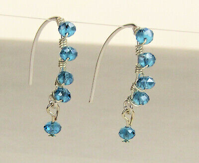 Faceted Teal Blue Crystal Silver Marquise Dangle Earrings USA MADE