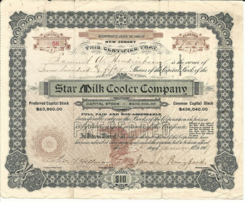 NEW JERSEY Star Milk Cooler Company Stock Certificate 1907 #56 Haddonfield