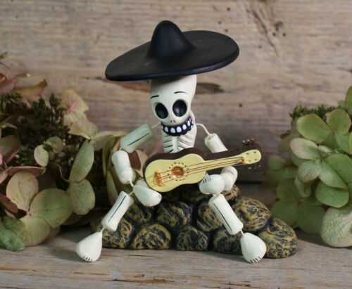 Day of the Dead Mariachi Skeleton Playing the Guitar Mexican Folk Art Handmade