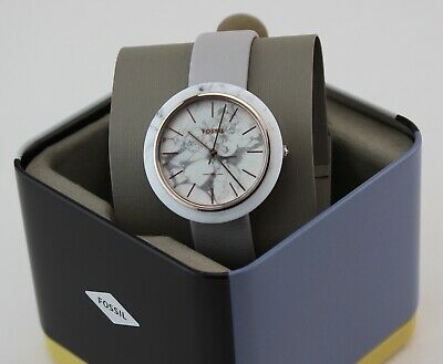NEW AUTHENTIC FOSSIL CAMILLE WHITE MINERAL GREY LEATHER WOMEN'S ES4381 WATCH