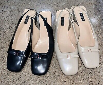 2 Pair Kate Spade Shoes 9.5 Leather Italy Black + Cream Summer Flats Heel Bow