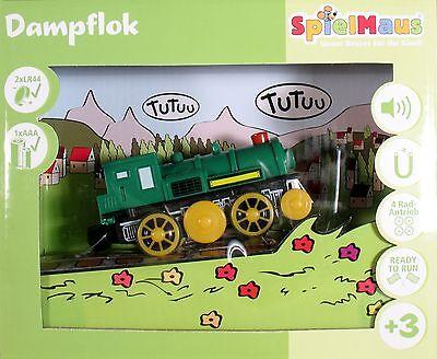 4achs BATTERIELOK DAMPFLOK Holzeisenbahn Lokomotive Licht Sound SpielMaus NEU+OV