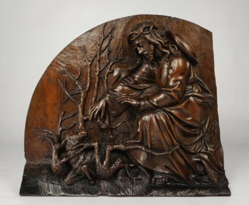 A Quality 18th Century Carved Oak Religious Fragment.