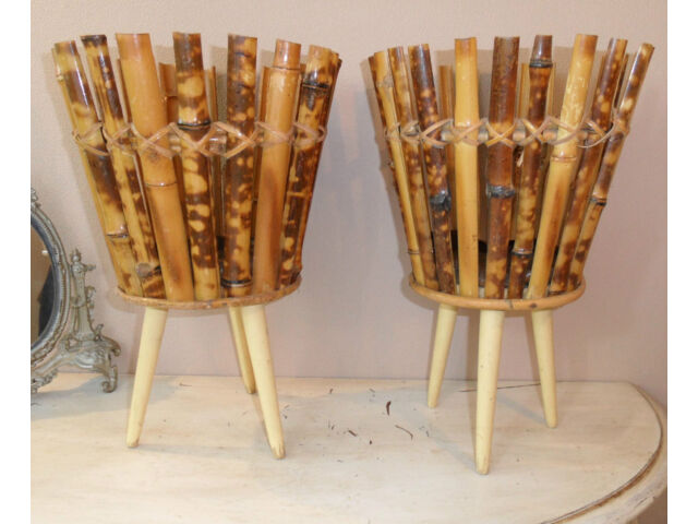 rare shaped German Mid Century Plant Stand Tripod Bamboo Legs in Beech