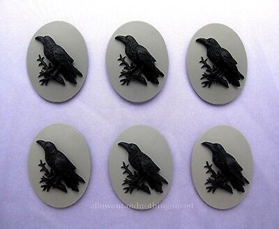 6 BLACK BIRD GOTH CROW RAVEN on Gray Grey 25mm x 18mm Costume Jewelry CAMEOS EMO