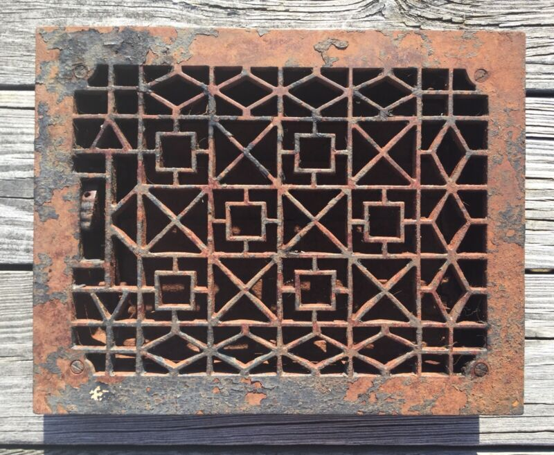 VTG ANTIQUE CAST IRON ART & CRAFT FLOOR GRATE HEATING VENT METAL REGISTER 9 X 12