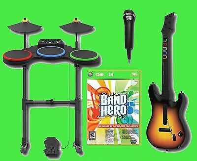 "Used, XBox 360 ""BAND HERO"" Video Game Bundle Set w/Guitar/Drums/Mic kit microphone for sale  Minneapolis"