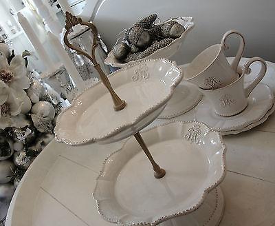 Etagere Monogramm Keramik Weiß Shabby Vintage Nostalgie Landhaus  Brocante Deko