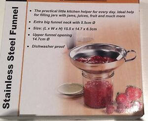 Stainless Steel Jam Funnel 14.7cm Big Mouth easy filling With Handle Dishwasher