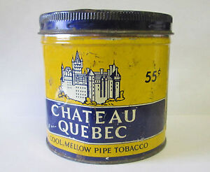Vintage-55-CENT-CHATEAU-QUEBEC-PIPE-TOBACCO-TIN-Can-CANADA