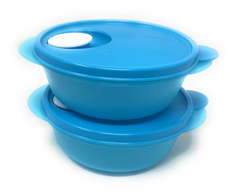 Tupperware Crystalwave Microwave Lunch Bowl Set 2.5 Cups NEW