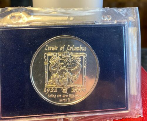 CREWE OF COLUMBUS 2000~.999 Silver Mardi Gras Doubloon SAILING THE NEW MILLENIUM