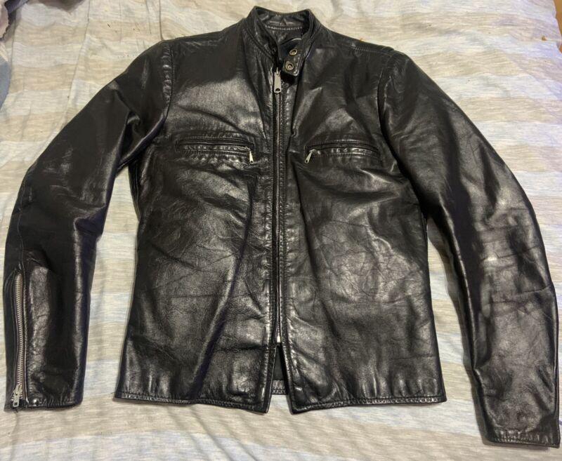 Vintage 60's BROOKS Jet Black Gold Label Leather Cafe Racer Motorcycle Jacket 38