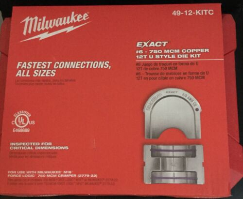 Milwaukee 49-12-KITC EXACT #6 – 750 MCM Copper 12T U Style Die Kit - NEW - #D368