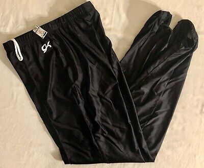 GK ELITE MENS LARGE BLACK GYMNASTICS COMPETITION NYLON STIRRUP PANTS AL NWT!