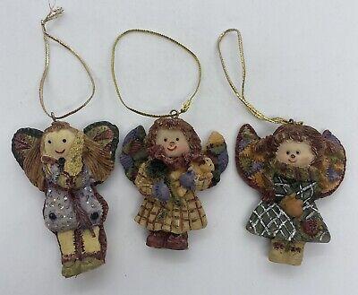 Lot Of 3 Ceramic Patchwork Christmas Angel Tree Ornaments-rag Doll