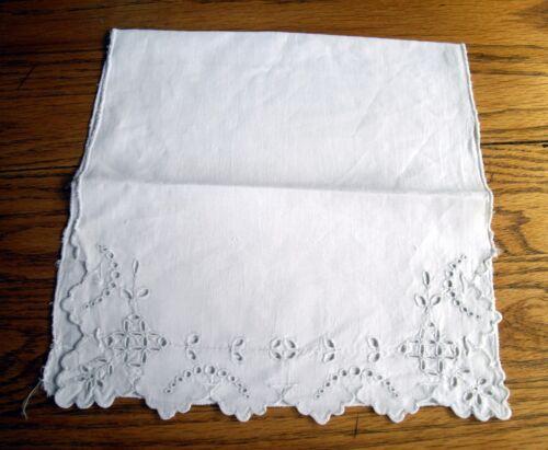 "Vintage White Cotton Table Scarf w/ Cut-outs Detail 10 1/2"" x 23""  ~"
