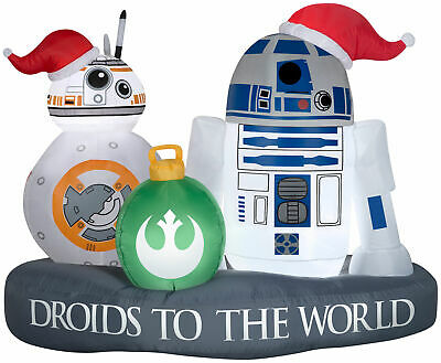 RARE Inflatable Star Wars Stylized R2-D2 BB-8 Droids to the World Scene Airblown