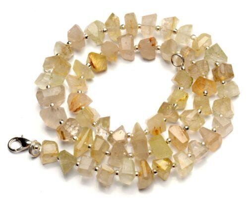 "Natural Gem Golden Rutile Quartz 8 to 11mm Size Faceted Nugget Bead Necklace 17"""