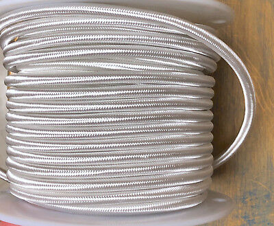 White Cloth Covered 3-Wire Round Cord, 18ga. Vintage Lamps Antique Lights, rayon