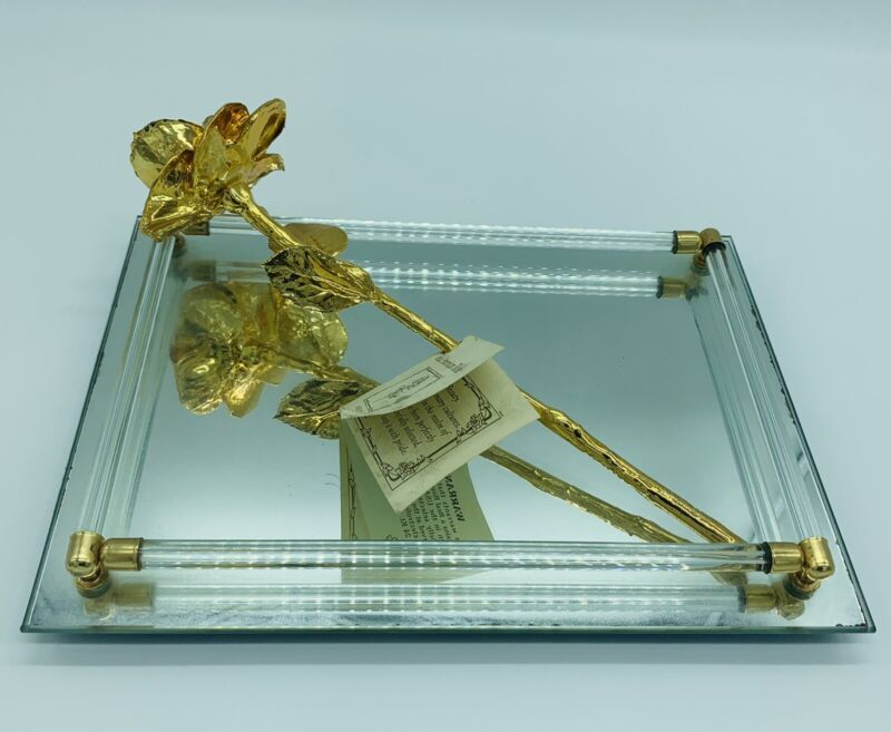 Gold Dipped 24k Real American Rose Birthday Anniversary with Vanity Mirror Tray