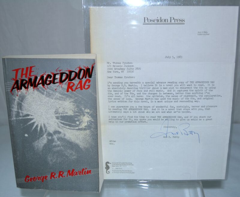 SIGNED The Armageddon Rag George RR Martin a game of thrones THOMAS PYNCHON copy