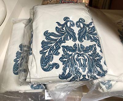 Ballard Designs Set 2 Bingham Drapes Indigo Blue 96  Damask Print Curtains Pair