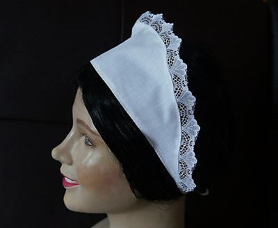 VICTORIAN FRENCH MAID waitress white SCARF HAT  lace trimmed  - Victorian Maid Kostüm
