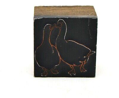Printing Letterpress Printer Block Decorative Pair Of Geese Goose Print Cut