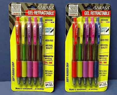 2 Packs Zebra Sarasa 46885 Gel Rt Fashion Pens Assorted 5 Pack Free Shipping