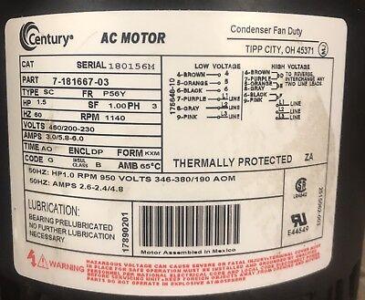 Century AC Motor. 7-181667-03 460/200-230 Volts 1.5 HP. RPM 1140(USED MOTOR)