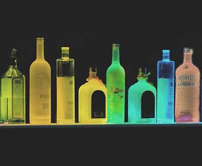 Lot Of 3 Each 36 Liquor Bottle Display Shot Glass Bar Shelf Colored Led Lights