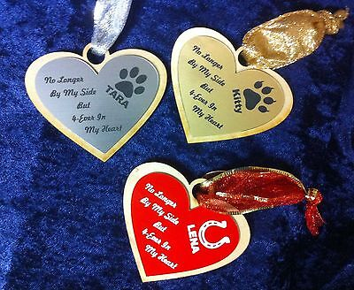 New Personalized Heart Memorial Pet Dog Cat Horse Ornament Customized FREE