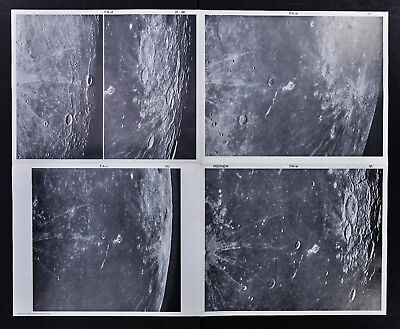 1960 Photographic Lunar Moon Map - 4 Photo Set - Field Reiner F4 Surface Craters